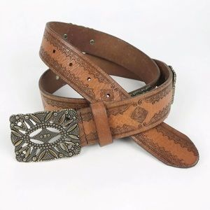 Fossil Tooled Leather Bronze Buckle Belt Large